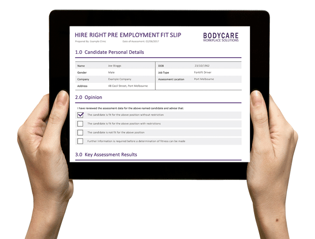 Pre Employment Screening and Functional Assessments